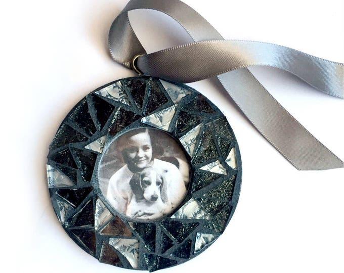 Mosaic Glitter Frame Ornament, Silver Black Sparkle Mosaic Frame Ornament, Hanging Frame, Black Glitter Mosaic Ornament, Hanging Frame