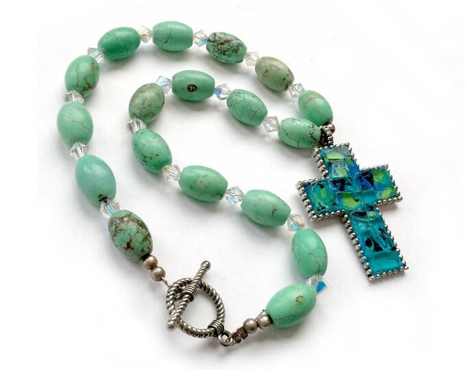 Mosaic Cross Pendant with Beaded Choker, Turquoise Aqua Mosaic Cross Pendant on Turquoise Beaded Choker, Choker with Beads and Mosaic Cross