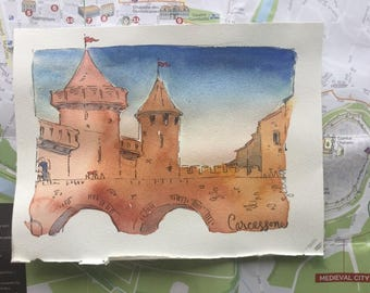 "Memories of Carcassonne; original watercolor 6"" x 7 3/4"""