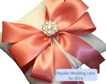 On Sale 20% Off Ring Bearer Pillow - Ring Pillow -  Wedding Pillow -  Coral Ring Pillow - Coral Wedding - Wedding Ring Pillow - Bridal Pillo