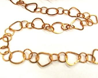 SALE 20% Off Chain Rose Gold 3 Foot Feet, Round Trillion Link Copper Chain,  Stardust Handmade , Heart Shape Fancy Links SOLID COPPER