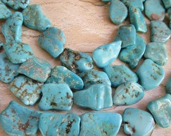 20% Off OUT Of TOWN SALE Natural Kingman Turquoise Nugget Beads, Silver Ore Robins Egg Blue Gemstone, Arizona Mined , Slice Nuggets