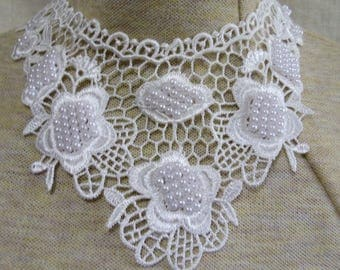 large white applique necklace -  white pearl beads - trach stoma cover