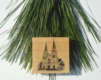 Savannah Cathedral Wood Block Christmas Ornament