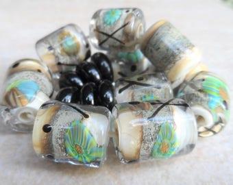 Handmade Lampwork Beads, Artisan Glass Beads, SRA, Organic Blue Green Black Murrini Barrels
