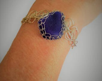 Cobalt Blue Sea Glass Bracelet  - one of a kind-   Free US Shipping-All Sterling Silver---Adjustable