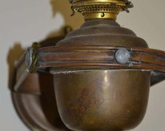 2 Antique Ship Lamps, Brass, Swivel, Weighted, Oil?, Electrified