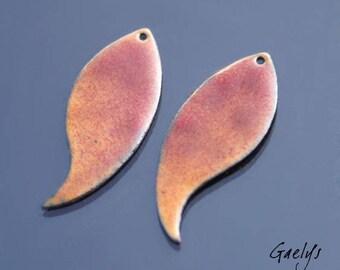 Email - Paire de plaque de cuivre émaillé pour boucles d'oreille - forme feuille courbée, émail fauve - Gaelys