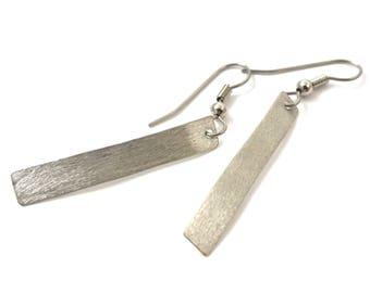 Silver Dangle Earrings Bar Earrings