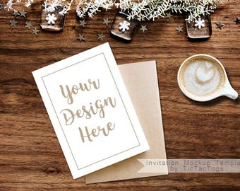 Christmas Card Mockup - Rustic Invitation Mockup Template - 5x7 Insert Photo Card Rustic Wood Coffee Cocoa - Instant Download