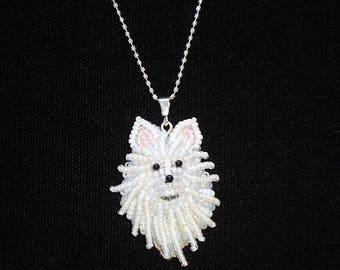 POMERANIAN or AMERICAN ESKIMO beaded sterling silver necklace, bead embroidery dog slide pendant / Ready to Ship