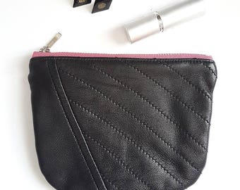 REPURPOSED Leather Pouch. Recycled Change Purse. Leather Coin Purse. Upcycled Leather Pouch. Black Leather Bag. Floral. Ready To Ship.