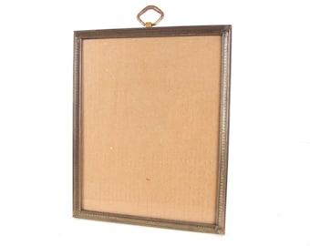 Brass 8x10 Picture Frame with Ring Loop, Vintage Goldtone Metal Frame