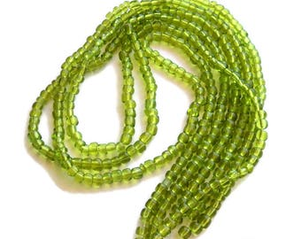 """3 Strands Apple Green Seed Beads, 14"""" Strands Glass Beads, DIY Jewelry supplies, Takuniquedesigns"""