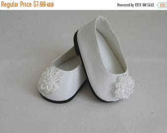 Summer Sale 20% Off Doll Shoes made to Fit BITTY BABY and Bitty TWINS, White Shoes with White Flower Trim, Shoes Made to Fit Bitty Baby and