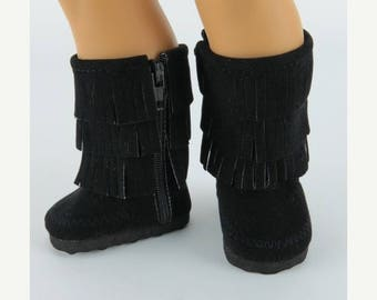 20% off Eclipse Sale Doll Boots Made to fit AMERICAN GIRL DOLLS, Black Fringe Faux Suede Boots Fit American Girl Dolls