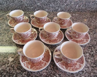 Eight cups and saucers- Alfred Meakin Staffordshire Fair Winds pattern white china with brown transfer design - very nice condition