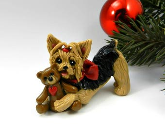 Yorkshire Terrier Christmas Ornament Figurine Toy Teddy Bear Porcelain