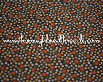 Brown Calico- Vintage Fabric Bright Floral New Old Stock Lil Flowers