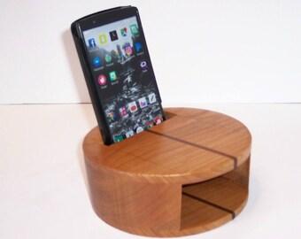 Smartphone Amplifier Handcrafted from Cherry Hardwood