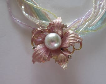 Vintage Seed Bead Necklace with Pink and Faux Pearl Vintage pin