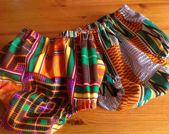 Any 2 African Ankara Kente print cotton diaper nappy cover bloomers pants