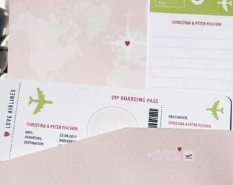 Hochzeitsgeschenk für Geldscheine Boarding Pass [ROSE]