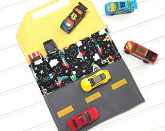 Space toy, car wallet, Toy car carrier, Car holder, Pretend play, Travel car mat,  Activity wallet, Hot wheels carrier, Airplane toy