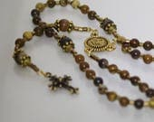 EXCLUSIVE LISTING for POTTER - Gemstone Jewelry - Anglican Rosary - Jupiter Jasper - Holy Spirit Medal and Italian Silver Crucifix - Silver