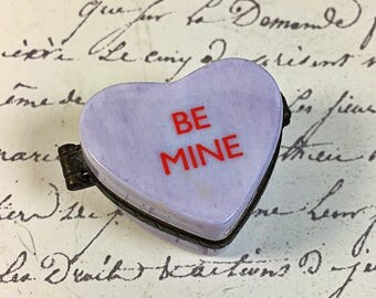 vintage Candy Heart Be Mine  Midwest of Cannon Falls Porcelain Trinket Box heart purple valentine