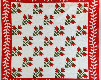 Hand Applique Carolina Lily - FINISHED QUILT - Queen, Elegant Must See Design