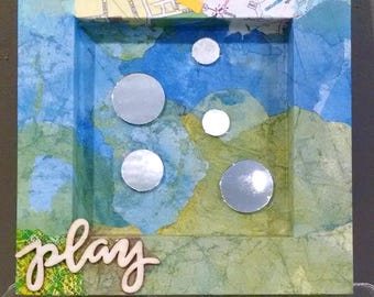 Play, Mixed Media Mirror with Inspirational Message, Blue Green Mirror, Tiny Round Mirrors, 6x6 inches, Housewarming Gift, Accent Mirror