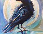 Crow art spirit Animal Crow Painting print Spiritual art The Crow Raven Print