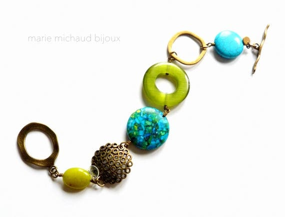 Boho bracelet, Big bracelet, Summer bracelet, Original bracelet, Boho jewelry,Turquoise and green, Original jewelry, Big summer bracelet