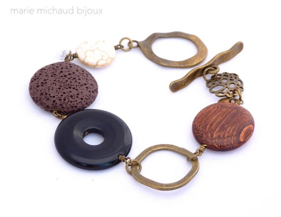 Big boho bracelet,Boho bracelet,Black brown bracelet,Original bracelet,Boho jewelry,Winter trends,Original bracelet,Gift for her