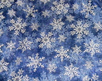 Sparkling Snowflake Chiffon Fabric in Blue with White Snowflakes and Silver Glitter