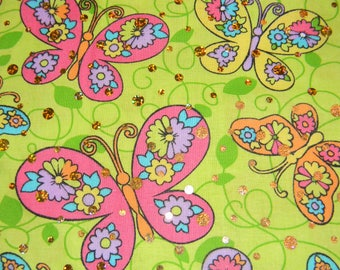 Beautiful, Colorful, Fun Butterflies on Green with Gold Sequins Cotton Fabric