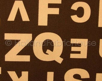 FINAL CLEARANCE SALE Alphabet Soup in Chocolate Japanese Fabric -- 0.5 yard