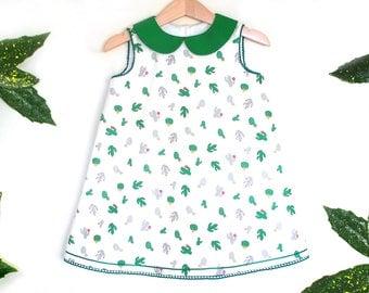 CACTUS toddler girl dress size 2 years, baby girl cactus dress, peter pan collar, summer botanical dress, birthday party cactus dress