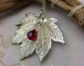 Silver-dipped Maple Leaf Necklace, Garnet Colored Crystal , Oregon Grown,  Free USA Shipping, Ready to ship, January Birthstone