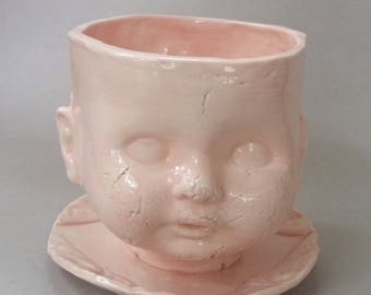 Soft Pink Baby Head Planter, pale pink ceramic planter, baby doll planter