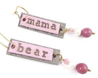 Mama Bear Pierced Dangle Earrings Mother's Day Gift Christmas Gift Gold Plated Wires Pearls Rhodonite Handmade Polymer Clay Earrings