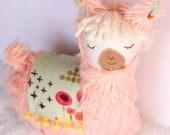 Peach Pink Llama Alpaca Pillow Plush