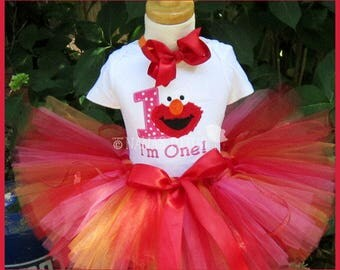 1yr, Ready to Ship, Number One Elmo,  Party Outfit, Theme Party, Tutu Set,Photo Shoot