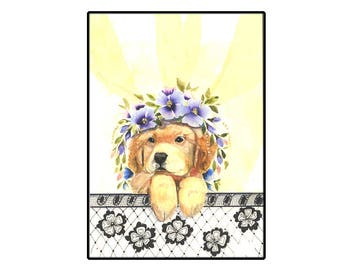 Adorable Cute Golden Retriever Puppy Handmade Card with watercolor flowers
