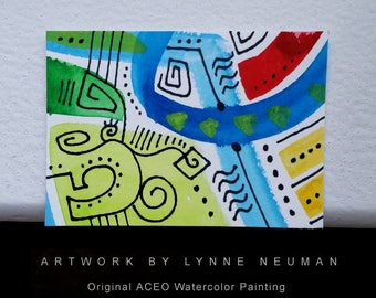ACEO Original Hand-Painted One-of-a-Kind Abstract Mini Watercolor Signed Painting by Lynne Neuman #4356 OOAK Miniature Small Format Art ATC