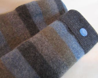 Blue and Gray Striped Sweater Mittens - Women's