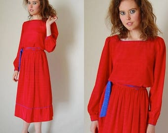 SALE 25% off sundays Blouse and Skirt Vintage 80s Red and Blue Shadow Check Draped Boho Indie Blouse and Skirt Set (s m)