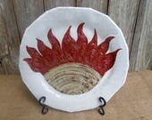 Red Sun Flower Serving Platter & Wall Art