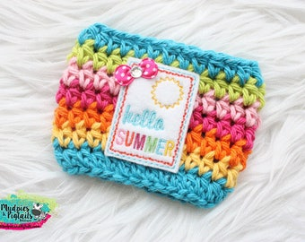 Rainbow Coffee Cup Cozy { Hello Summer } fun, sun beach accessories, summer, mug sweater starbucks addict, water bottle, crochet